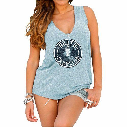 Womens North Carolina Tar Heels Original Retro Brand Carolina Blue Relaxed Henley Tank Top