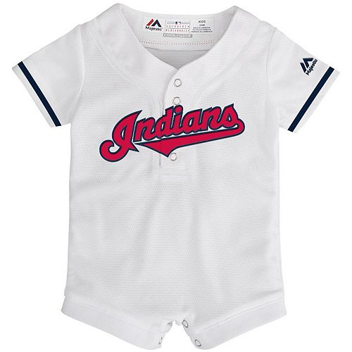Newborn & Infant Majestic White Cleveland Indians Home Cool Base Jersey Romper