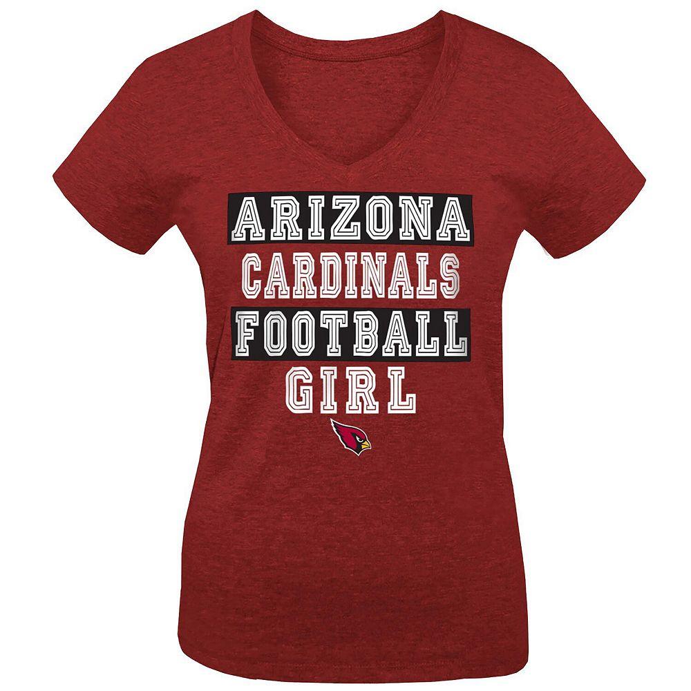 Girls Youth 5th & Ocean by New Era Cardinal Arizona Cardinals Football Girl Tri-Blend V-Neck T-Shirt