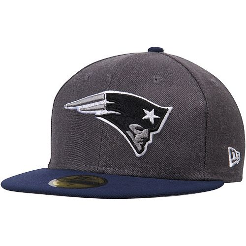 Men's New Era Heathered Gray/Navy New England Patriots Shader Melt 2 59FIFTY Fitted Hat