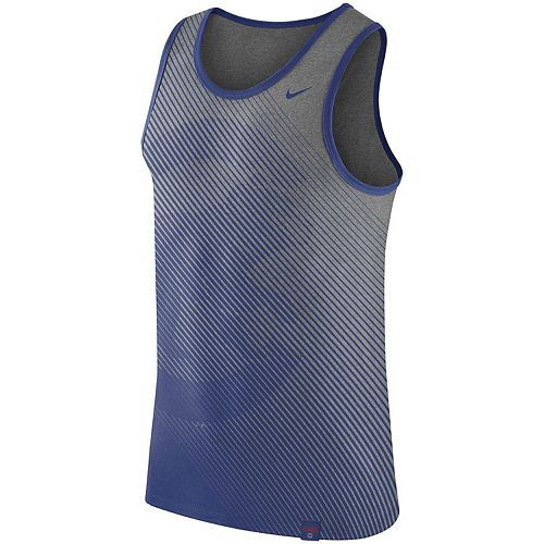 Men's Nike Heathered Gray Chicago Cubs 1.7 Tri-Blend Tank Top