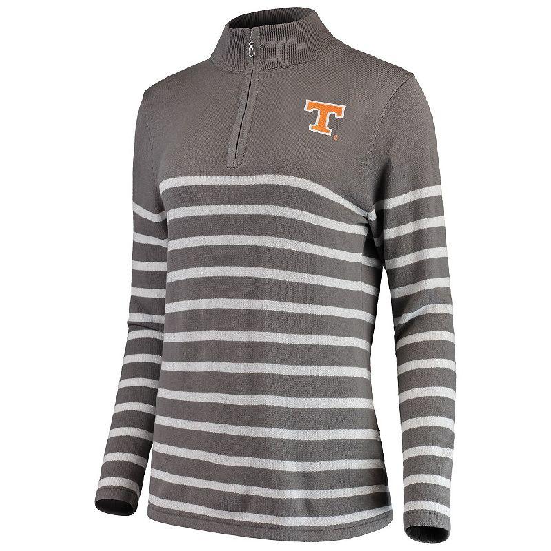 Women's Gray/White Tennessee Volunteers Lurex Striped Quarter-Zip Pullover Sweater, Size: Medium, Grey