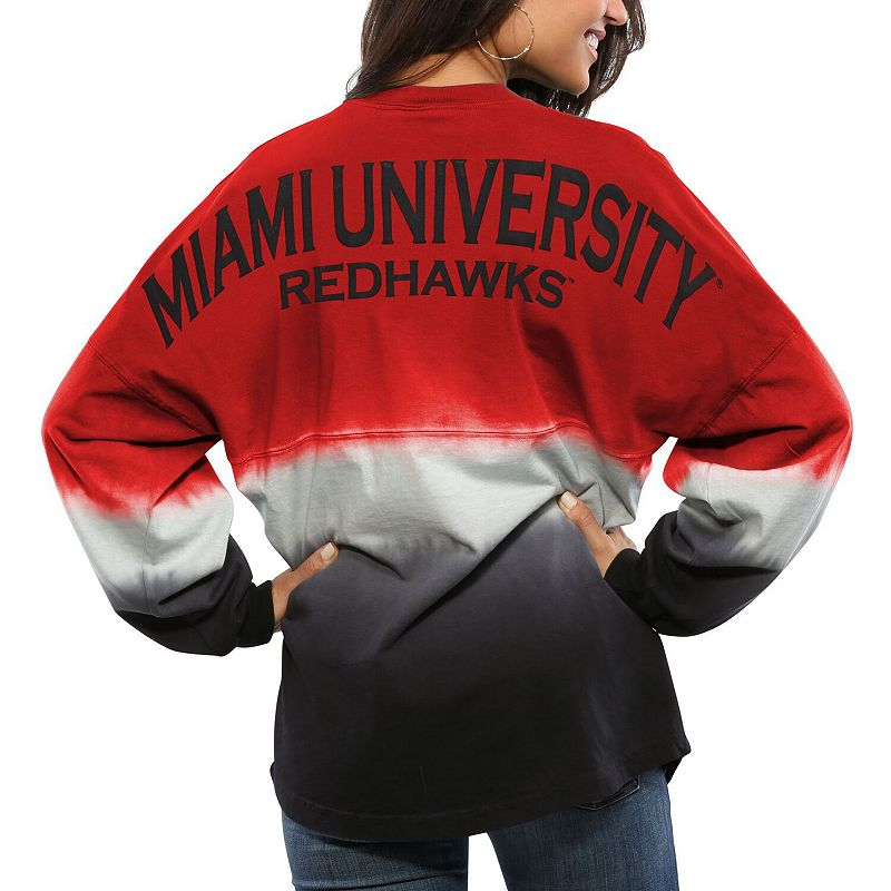 Women's Red Miami University RedHawks Ombre Long Sleeve Dip-Dyed Spirit Jersey, Size: XS