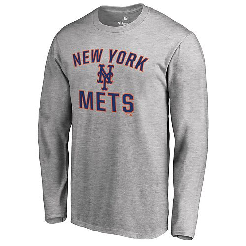 Men's Fanatics Branded Heathered Gray New York Mets Victory Arch Long Sleeve T-Shirt