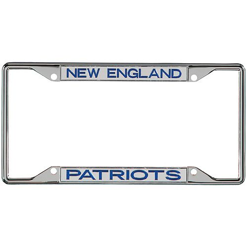 New England Patriots Metal Frame Acrylic Inlaid Mirror License Plate Frame