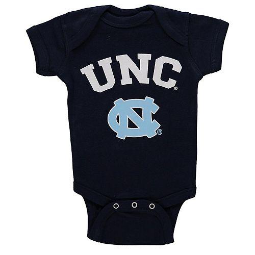 Newborn & Infant Navy North Carolina Tar Heels Arch & Logo Bodysuit