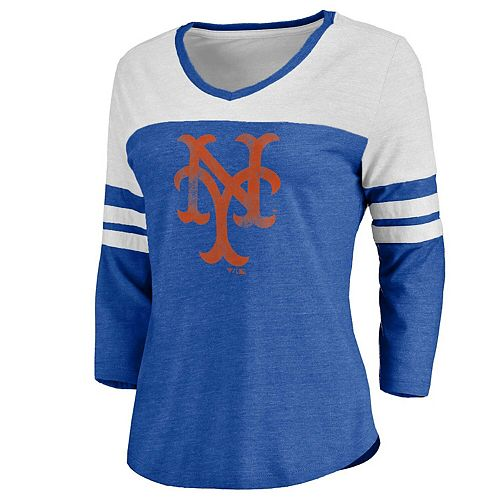 Women's Royal/White New York Mets Two Tone Cooperstown Three-Quarter Sleeve Tri-Blend T-Shirt