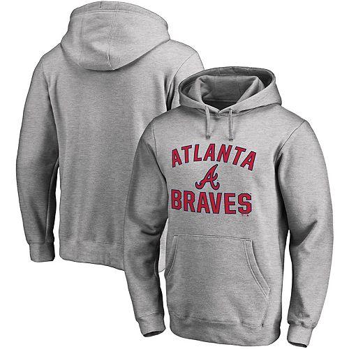 buy online 7b9f1 9eb75 Men's Fanatics Branded Heathered Gray Atlanta Braves Victory Arch Pullover  Hoodie