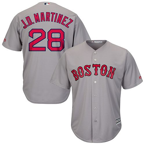 Men's Majestic J.D. Martinez Gray Boston Red Sox Road Official Cool Base Player Jersey