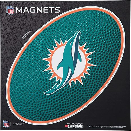 """Miami Dolphins Teamball 12"""" x 12"""" Oval Full Color Magnet"""