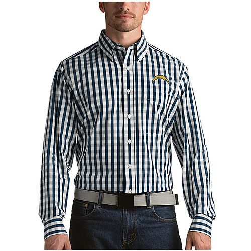 Men's Antigua Navy Los Angeles Chargers Alliance Woven Long Sleeve Button-Down Shirt