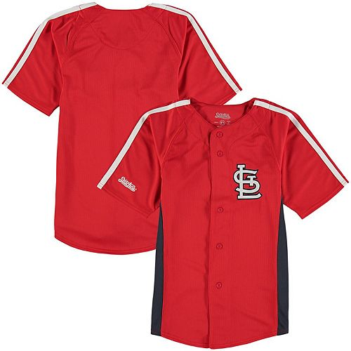 Youth Stitches Red St. Louis Cardinals Chin Music Fashion Button Jersey