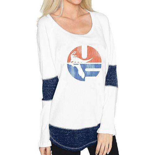 Women's Original Retro Brand White Florida Gators Contrast Boyfriend Thermal Long Sleeve T-Shirt