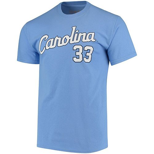 Men's Original Retro Brand Andrew Miller Carolina Blue North Carolina Tar Heels Baseball Name & Number T-Shirt