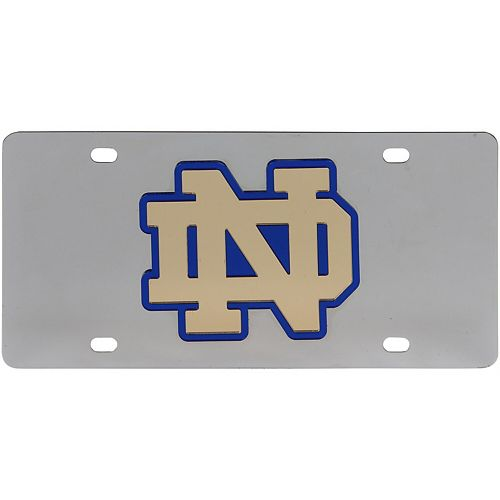 Notre Dame Fighting Irish Stainless Steel Laser-Cut Acrylic License Plate