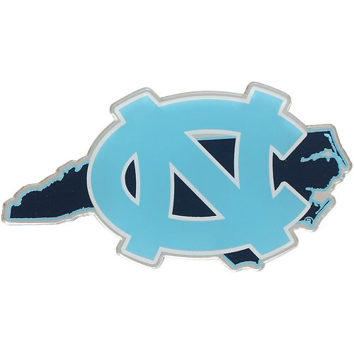 North Carolina Tar Heels State Shape Acrylic Metallic Auto Emblem