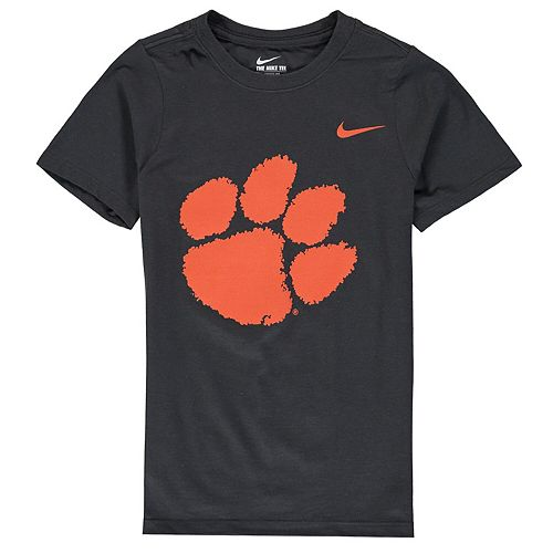 Youth Nike Anthracite Clemson Tigers Cotton Logo T-Shirt