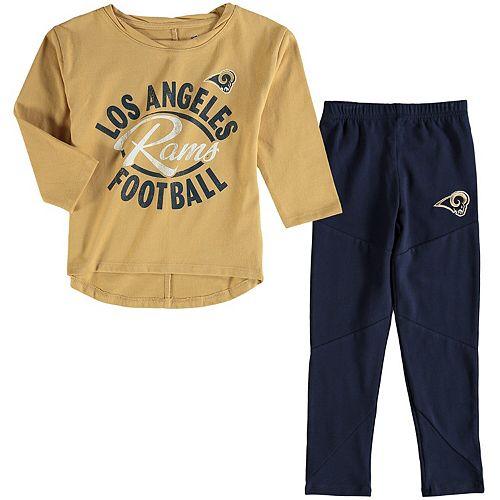 Girl's Toddler Gold/Navy Los Angeles Rams Fan Gear Football Sweetheart Long Sleeve T-Shirt and Pant Set