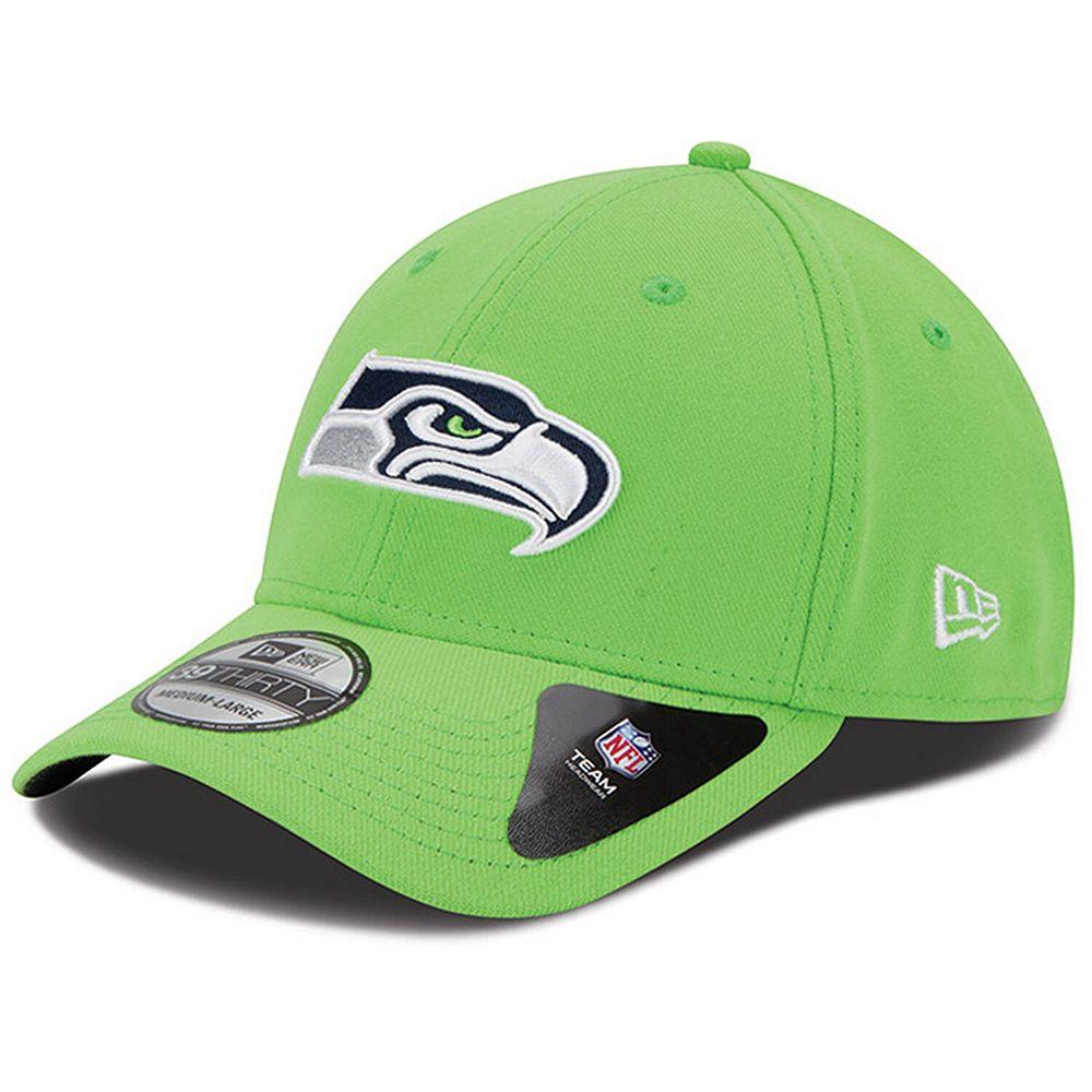 Mens Seattle Seahawks New Era Neon Green Team Classic 39THIRTY Flex Hat