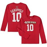 Youth Jimmy Garoppolo Scarlet San Francisco 49ers Mainliner Name & Number Long Sleeve T-Shirt