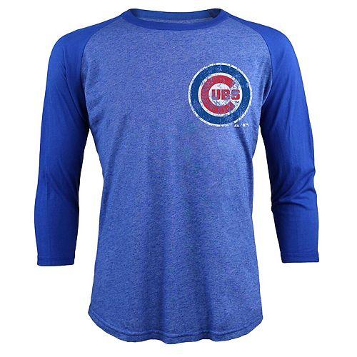 Men's Majestic Threads Kris Bryant Royal Chicago Cubs Tri-Blend 3/4-Sleeve Raglan Name & Number T-Shirt