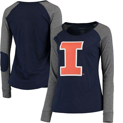 Women's Navy/Gray Illinois Fighting Illini Preppy Elbow Patch Slub Long Sleeve T-Shirt