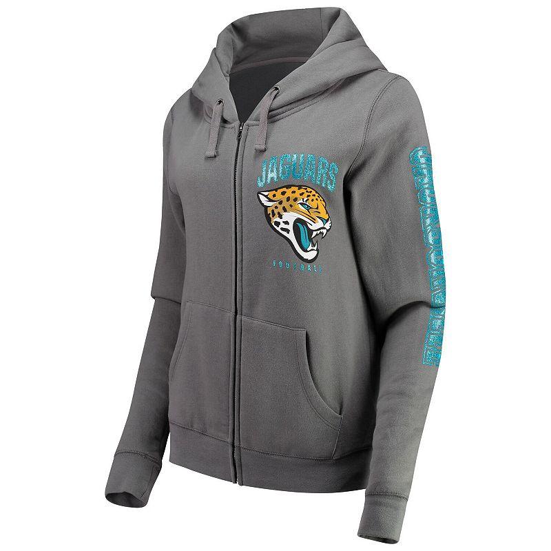 Women's New Era Gray Jacksonville Jaguars Playbook Glitter Sleeve Full-Zip Hoodie, Size: Large, Grey