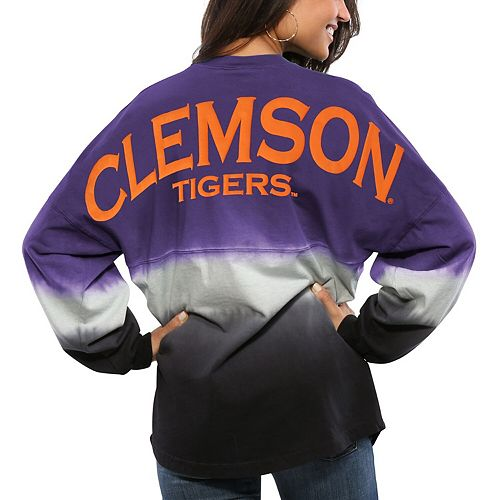 Women's Purple Clemson Tigers Ombre Long Sleeve Dip-Dyed Spirit Jersey