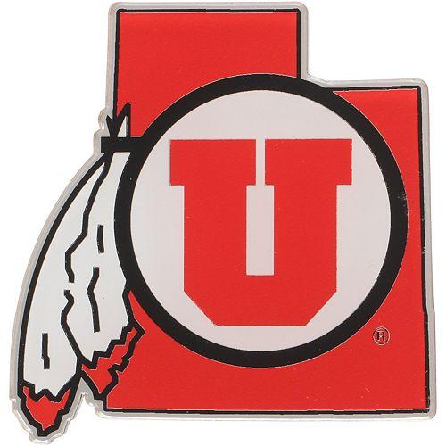 Utah Utes State Shape Acrylic Metallic Auto Emblem