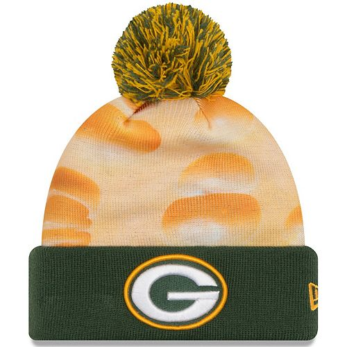 Men's New Era Gold/Green Green Bay Packers All Out Cuffed Knit Hat with Pom