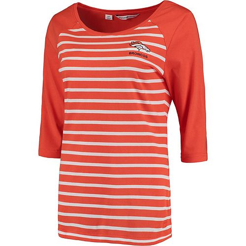 Women's Cutter & Buck Orange Denver Broncos Revel Stripe Three-Quarter Sleeve T-Shirt
