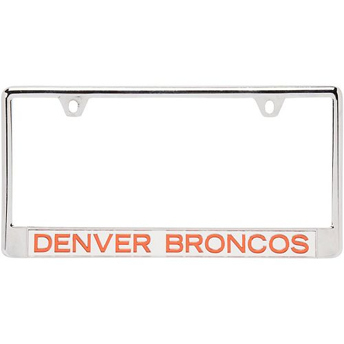 Denver Broncos Metal Frame Acrylic Bottom Inlaid Mirror License Plate Frame