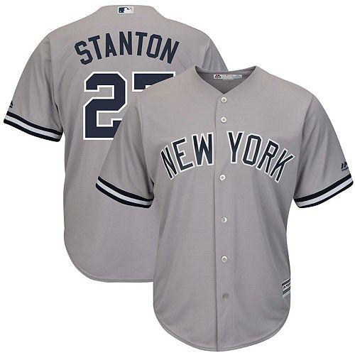 Men's Majestic Giancarlo Stanton Gray New York Yankees Big & Tall Alternate Cool Base Replica Player Jersey