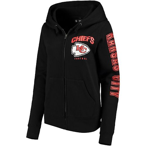 Women's New Era Black Kansas City Chiefs Playbook Glitter Sleeve Full-Zip Hoodie