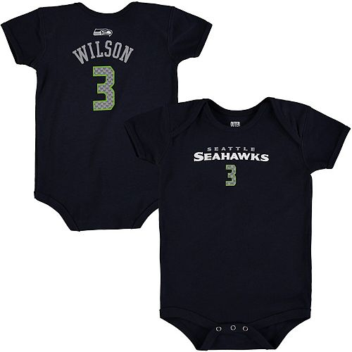 Infant Russell Wilson College Navy Seattle Seahawks Mainliner Name & Number Bodysuit