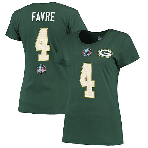 Women's Majestic Brett Favre Green Green Bay Packers Hall of Fame Fair Catch Name & Number T-Shirt
