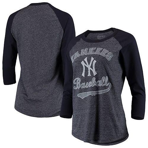 Women's Majestic Threads Navy New York Yankees Team Baseball Three-Quarter Raglan Sleeve Tri-Blend T-Shirt