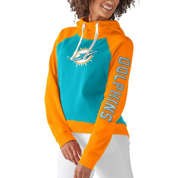 Women's G-III 4Her by Carl Banks Aqua Miami Dolphins Scrimmage Pullover Hoodie