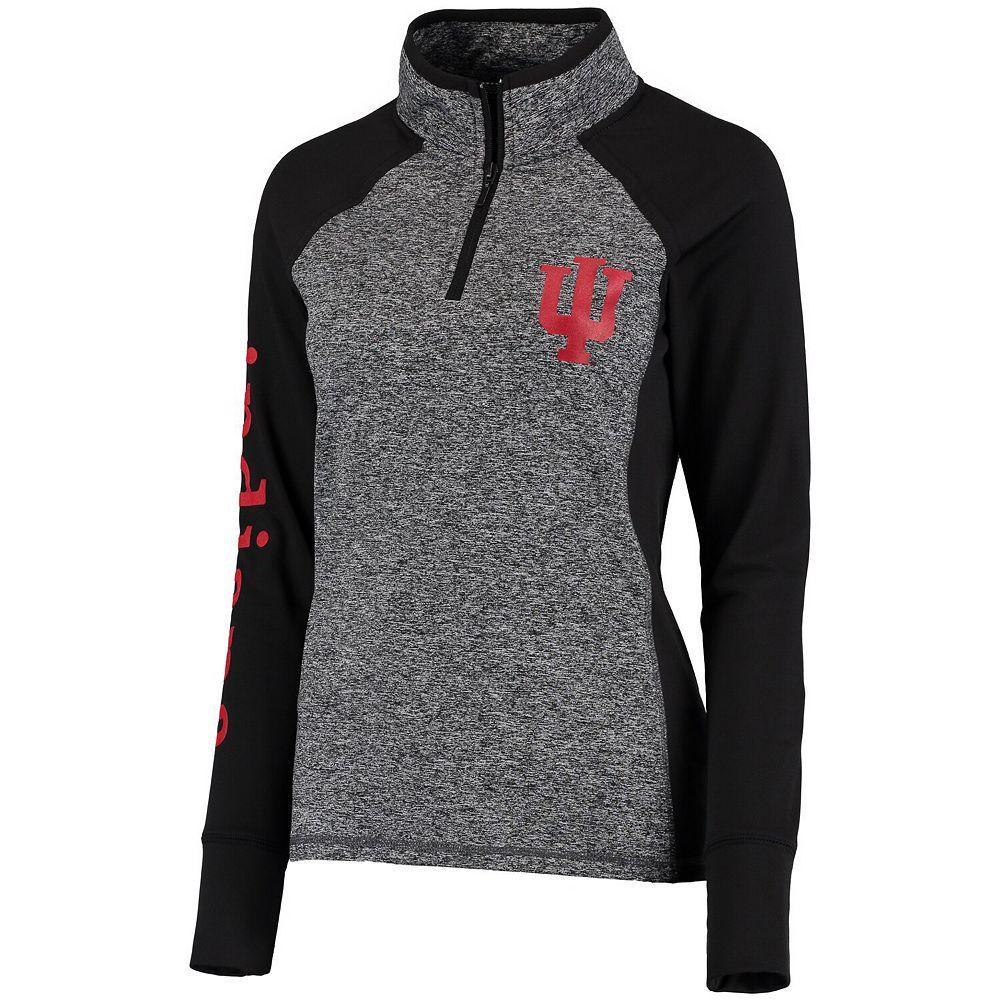 Women's Gray/Black Indiana Hoosiers Finalist Quarter-Zip Pullover Jacket