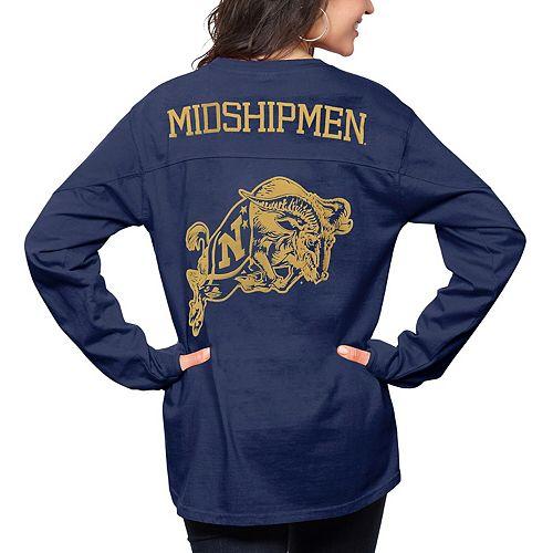 Women's Pressbox Navy Navy Midshipmen The Big Shirt Oversized Long Sleeve T-Shirt