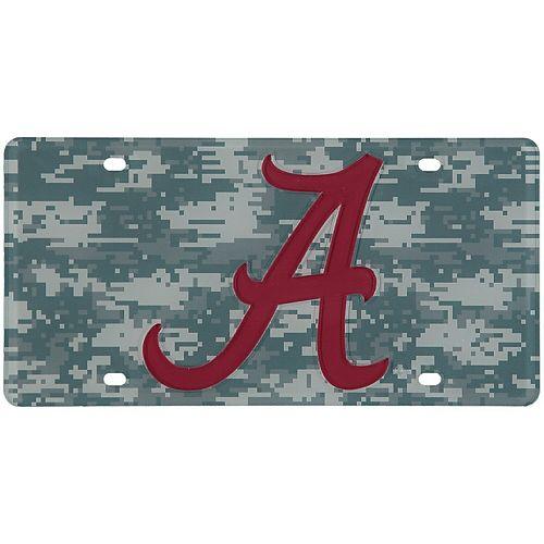 Alabama Crimson Tide Digi Camo Laser Cut License Plate