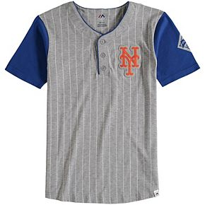 Youth Majestic Gray New York Mets Life or Death Henley T-Shirt