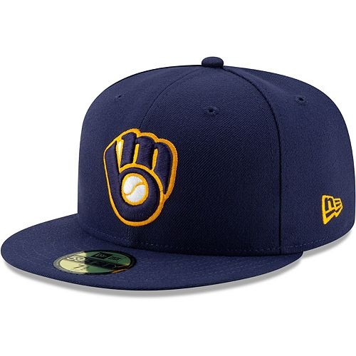 Men's New Era Navy Milwaukee Brewers Alternate 2 Authentic Collection On-Field 59FIFTY Fitted Hat