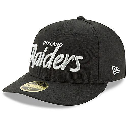 Men's New Era Black Oakland Raiders Omaha Low Profile 59FIFTY Hat - Script
