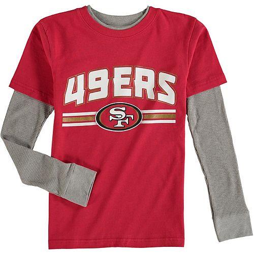 Youth Scarlet San Francisco 49ers Fan Gear Bleachers Faux Layer Long Sleeve T-Shirt