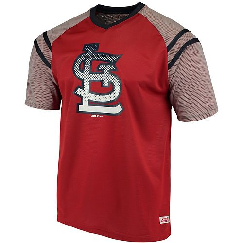 san francisco cd500 d7f2f Men's Stitches Red/Navy St. Louis Cardinals V-Neck Mesh Jersey T-Shirt