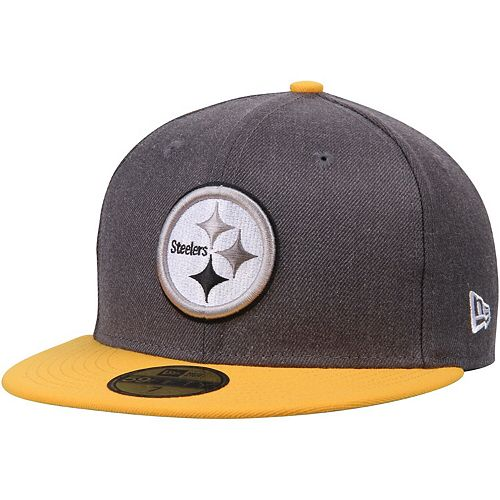 Men's New Era Heathered Gray/Gold Pittsburgh Steelers Shader Melt 2 59FIFTY Fitted Hat