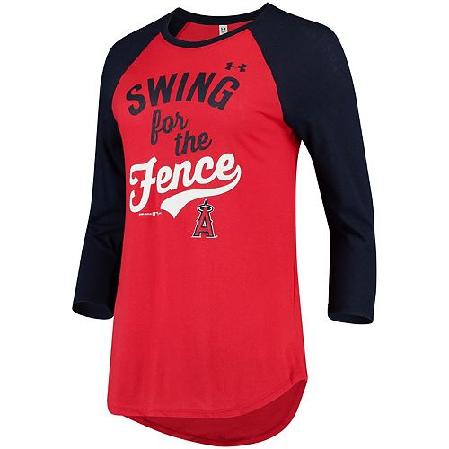 Women's Under Armour Red/Navy Los Angeles Angels Baseball 3/4-Sleeve Performance T-Shirt