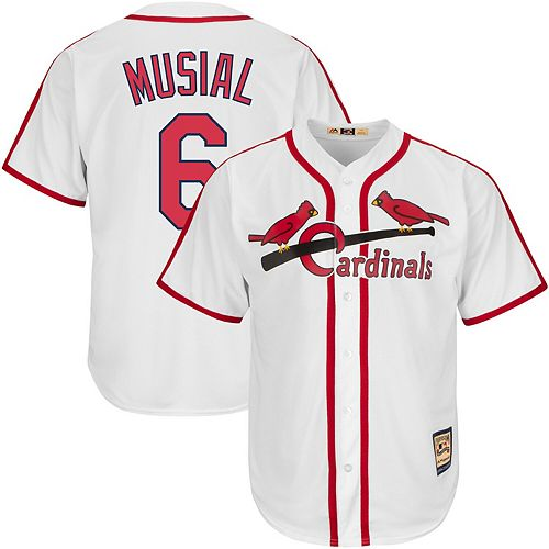 Men's Majestic Stan Musial White St. Louis Cardinals Big & Tall Cooperstown Cool Base Player Jersey