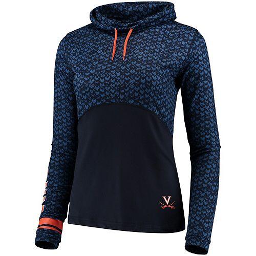 Women's Colosseum Navy Virginia Cavaliers Scaled Cowl Neck Pullover Sweatshirt